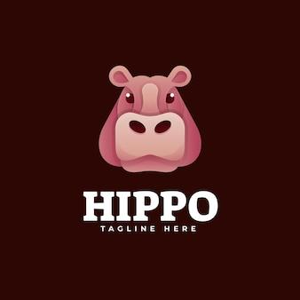 Illustration de logo style coloré de dégradé d'hippopotame.