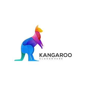 Illustration de logo style coloré dégradé kangourou