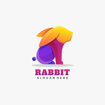Illustration de logo style coloré dégradé de lapin.
