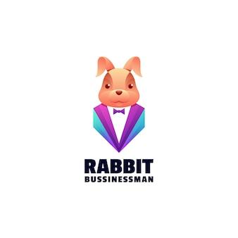 Illustration de logo style coloré de dégradé de lapin.