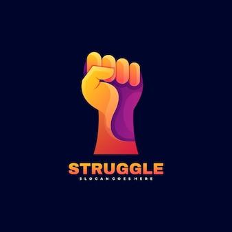 Illustration de logo style coloré de dégradé de lutte.