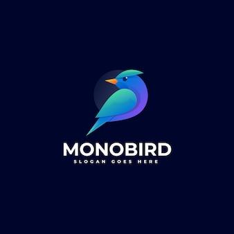 Illustration logo style coloré dégradé monobird