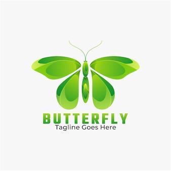 Illustration de logo style coloré de dégradé de papillon.