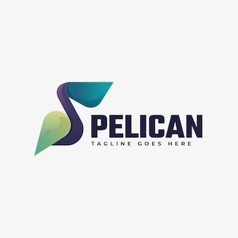 Illustration de logo style coloré de dégradé de pélican.