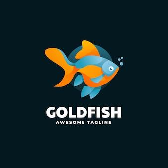 Illustration logo style coloré dégradé poisson rouge