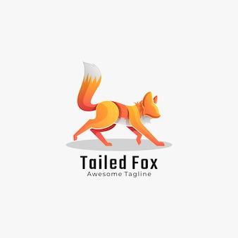 Illustration de logo style coloré de dégradé de renard à queue.
