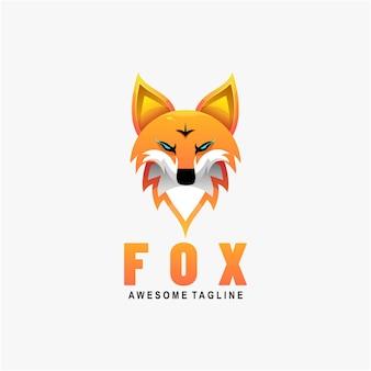 Illustration de logo style coloré de dégradé de renard.