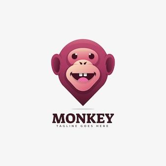 Illustration de logo style coloré de dégradé de singe.