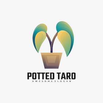Illustration de logo style coloré de dégradé de taro en pot.