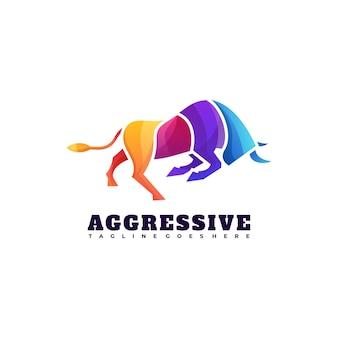 Illustration de logo style coloré dégradé de taureau agressif.
