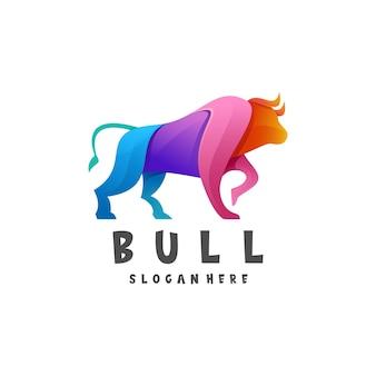 Illustration de logo style coloré dégradé taureau