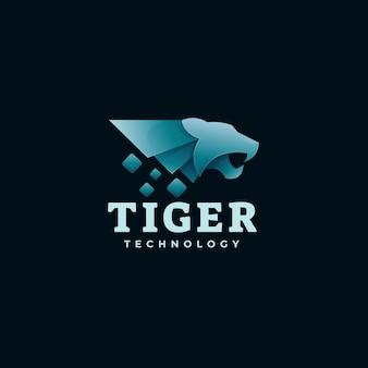 Illustration de logo style coloré dégradé de tigre.