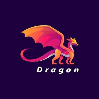 Illustration logo style dégradé coloré dragon.