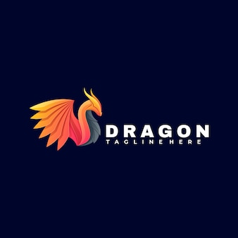 Illustration logo style dégradé coloré dragon.