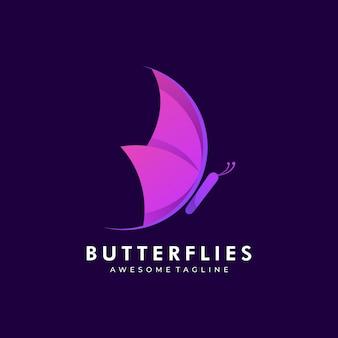 Illustration logo style dégradé papillon coloré.