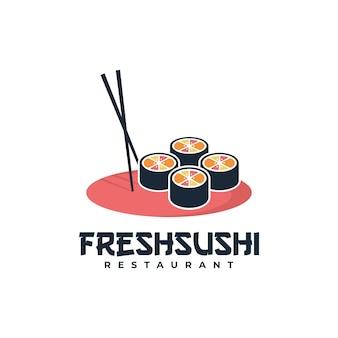 Illustration de logo style de dessin animé frais de mascotte de sushi.