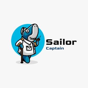 Illustration de logo style de dessin animé de mascotte de capitaine marin.