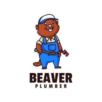 Illustration de logo style de dessin animé de mascotte de castor.
