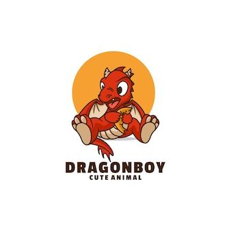 Illustration de logo style de dessin animé de mascotte de dragon.