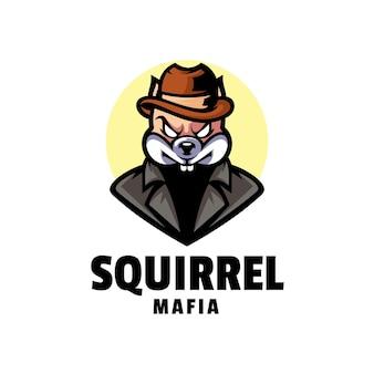 Illustration de logo style de dessin animé de mascotte d'écureuil.