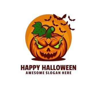 Illustration de logo style de dessin animé de mascotte halloween heureux.