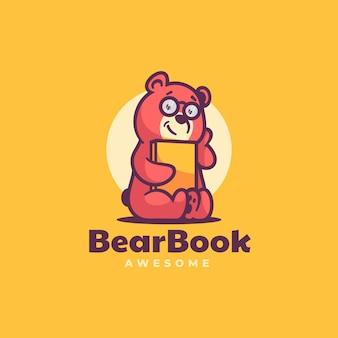 Illustration de logo style de dessin animé de mascotte de livre d'ours.