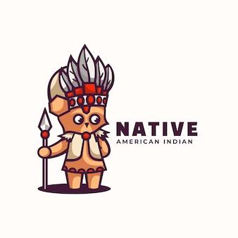 Illustration de logo style de dessin animé de mascotte native.