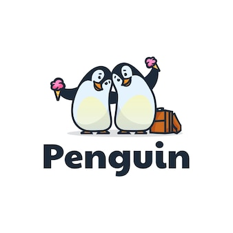 Illustration de logo de style de dessin animé de mascotte de pingouin.