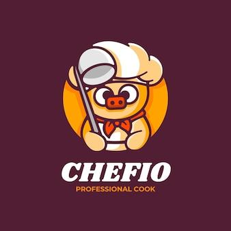 Illustration de logo style de dessin animé de mascotte de porc.