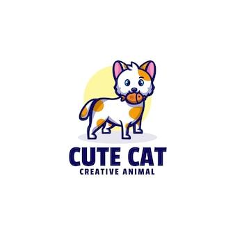 Illustration logo style dessin animé mignon chat mascotte