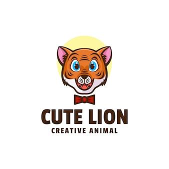 Illustration logo style dessin animé mignon lion mascotte
