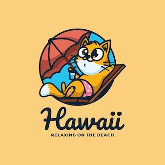 Illustration de logo style de mascotte simple de chat hawaii.