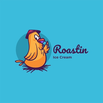 Illustration de logo style de mascotte simple coq.