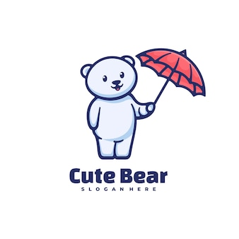 Illustration de logo style de mascotte simple ours mignon.