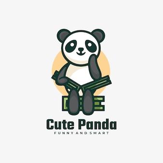 Illustration de logo style de mascotte simple panda mignon.