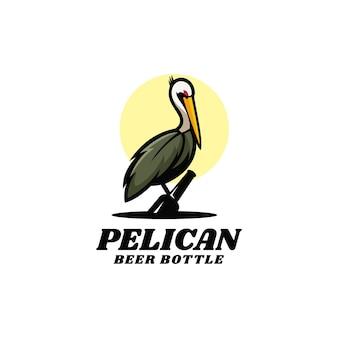 Illustration logo style mascotte simple pélican