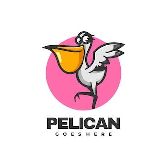 Illustration de logo style de mascotte simple de pélican.