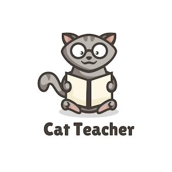 Illustration de logo style de mascotte simple de professeur de chat.