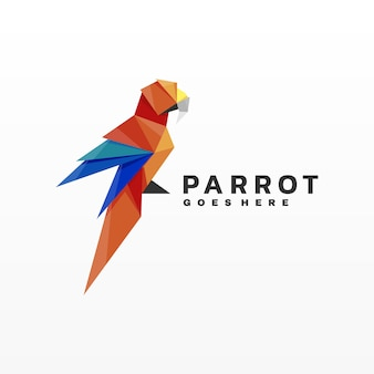 Illustration logo style perroquet gradient low poly.