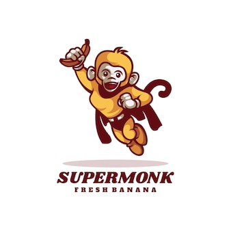 Illustration logo super singe mascotte dans style dessin animé