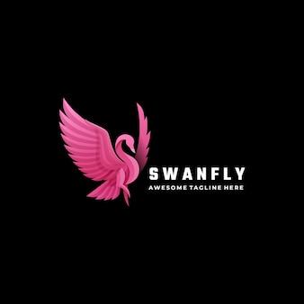 Illustration de logo swan style coloré dégradé.