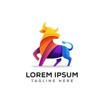Illustration logo taureau coloré