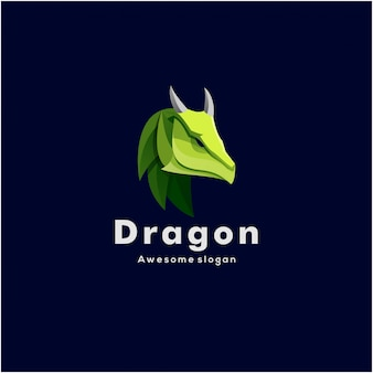 Illustration logo tête de dragon style coloré.