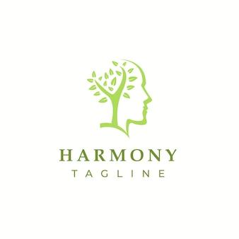 Illustration de logo de tête de feuille d'harmonie moderne