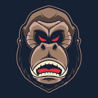 Illustration de logo tête de gorille isolée sur noir