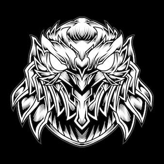 Illustration de logo tête de hibou mecha fer noir et blanc
