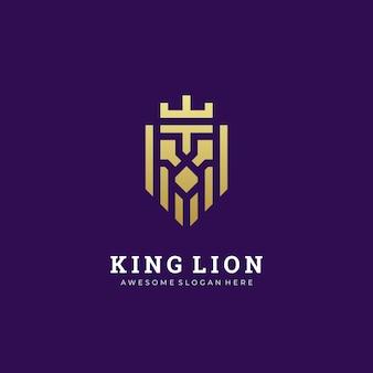 Illustration logo tête de lion abstraite avec couronne roi simple et minimaliste