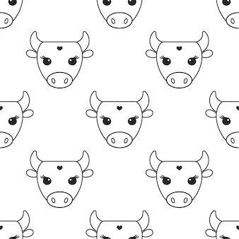 Illustration de logo de vache monochrome