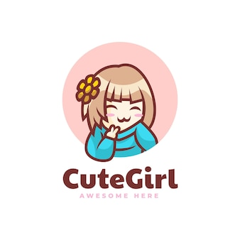 Illustration logo vector illustration mignonne fille mascotte dans style dessin animé