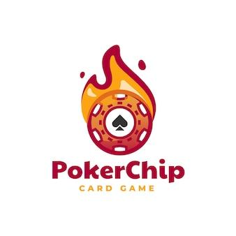 Illustration logo vector avec jeton poker dans style mascotte simple